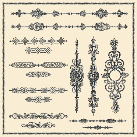 Set of vector vintage-style design elements. Vector