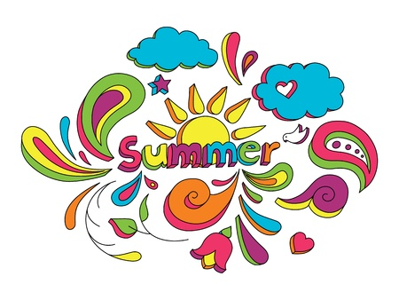 Hand drawn sketch style doodle vector illustration with summer elements. Ilustrace