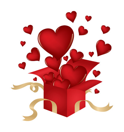 Valentine's Day themed illustration with hearts popping out of a present isolated on white. Ilustrace