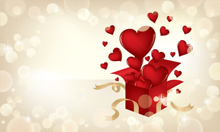 Valentine's Day themed illustration with hearts popping out of a present. Ilustrace