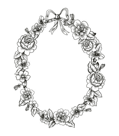 Detailed flowers and roses frame with a bow