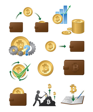 A set of vector bitcoin related icon illustrations.