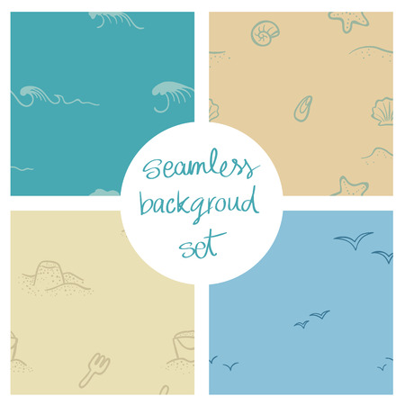 Seamless vector backgrounds with a beach and sea theme