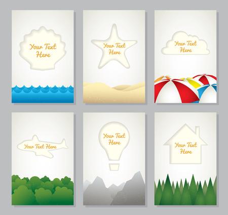Vector travel background label set Ilustrace