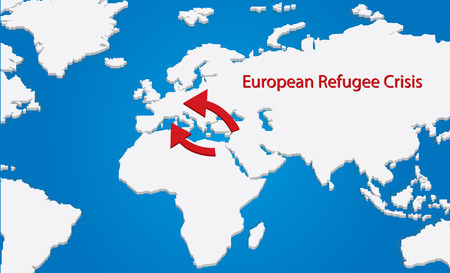 Vector map of the european refugee crisis Ilustrace