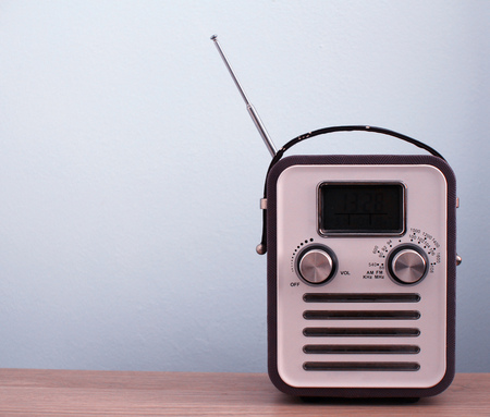hit tech: Retro style radio vintage background Stock Photo