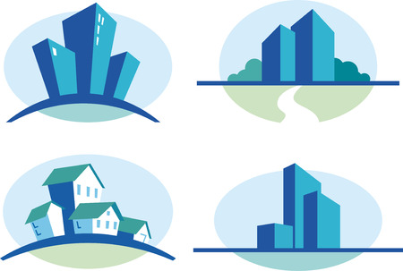 Set of four blue urban icons Stock Vector - 6459170