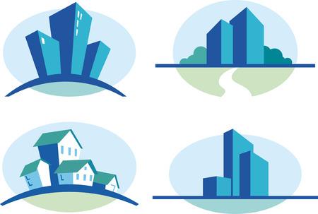 Set of four blue urban icons Illustration