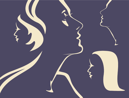 Silhouettes of womans faces Vector