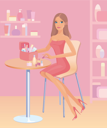 Girl shows cosmetics