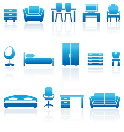 Set of blue furniture icons