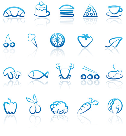 Simple blue icons of food Vector