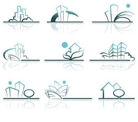 Abstract architecture icon set Stock Vector - 6636143