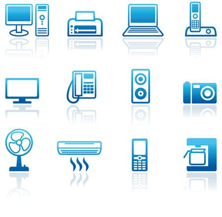 telecomunicaci�n: Conjunto de equipos de oficina de iconos
