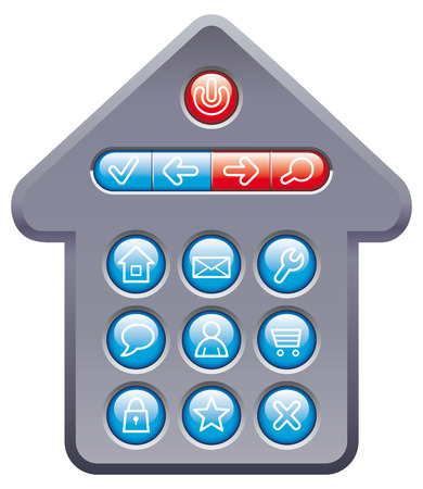Set computer buttons in form of house Stock Vector - 6636137