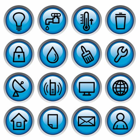 Utilities and engineering service of buildings buttons Stock Vector - 6636138