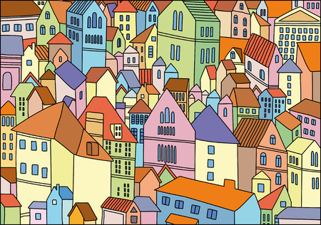 Abstract colour image of old city Vector