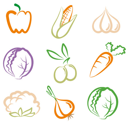 Set of simple images vegetables