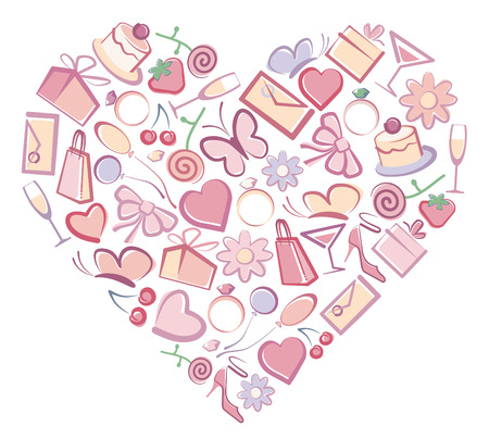 Images romantic symbols in form of heart Vector