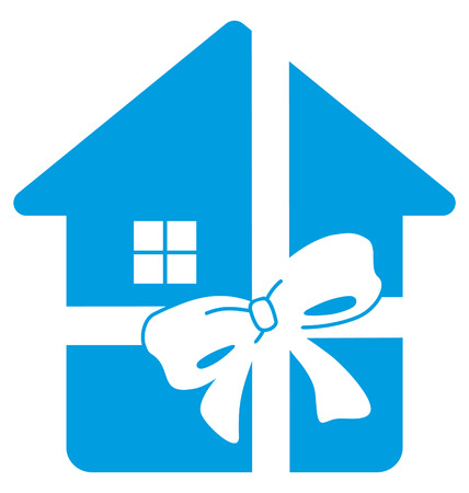Simple symbol of house in gift tape