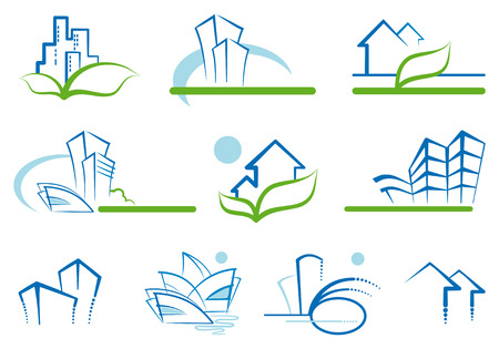 small office: Abstract architecture icon set Illustration