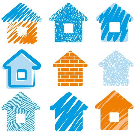 House drawings icon set Stock Vector - 6636153