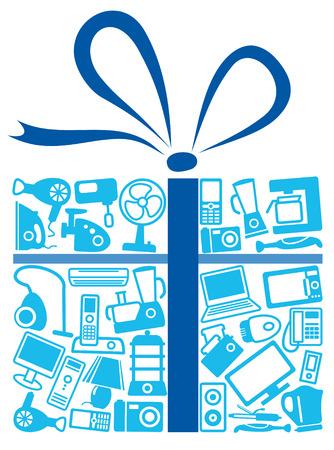 Electrodomésticos de regalo  Ilustración de vector