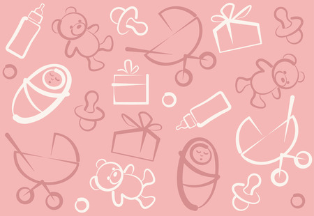 Seamless childrens pink background Vector