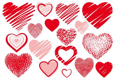 Set simple drawings heart symbols Illustration
