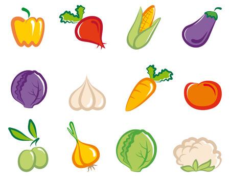 aubergine: Satz von einfache Bilder Gem�se