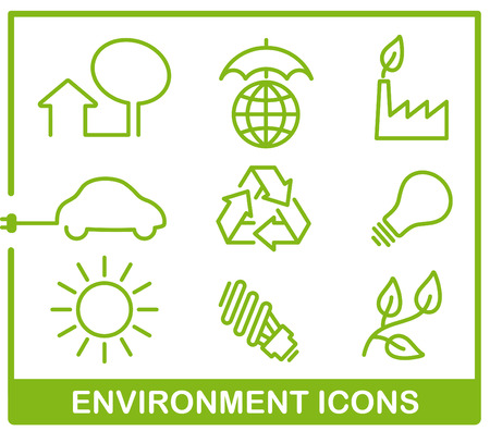 Set icons of protection environment Vector