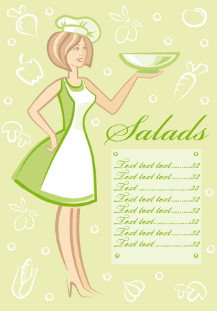 represents: The woman with plate in hand represents menu Illustration