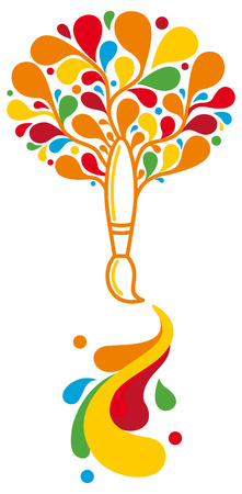 creative tools: Spazzola in albero di forma da spruzzi di vernice multicolore Vettoriali