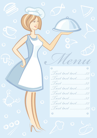 The woman with dish in hand Vector