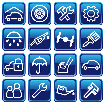 Cars spare parts and service buttons Stock Vector - 6636191