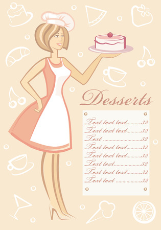 The woman with dessert on plate Vector