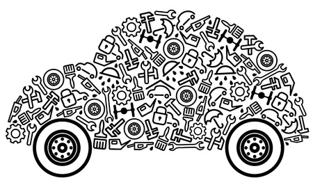 Cars spare parts and service icons in form of car
