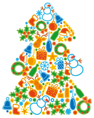 Collection of simple Christmas icons in form fur-tree Stock Vector - 6636196