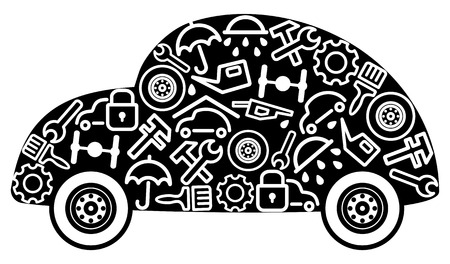 Cars and spare parts Vector