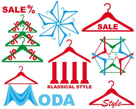 clothes rack: Coat hanger - symbol of sale clothes Illustration