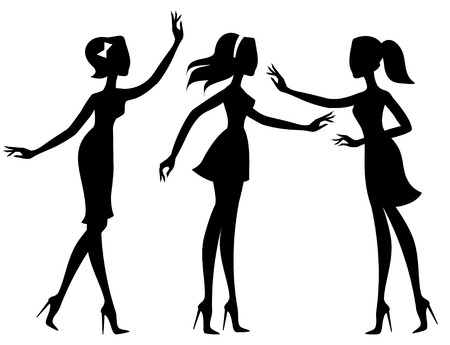 Silhouettes of girls Stock Vector - 6636167