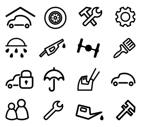 machine shop: Cars spare parts and service icons