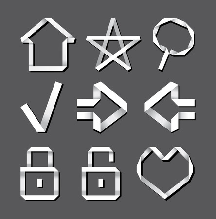 Computer icons in style origami Vector