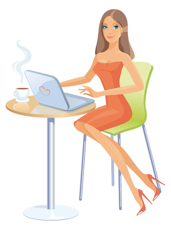 Girl with laptop Stock Vector - 6636286
