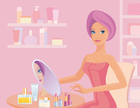 The girl in bathroom does make-up Illustration