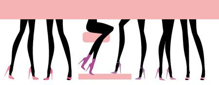 Silhouettes female feet in various footwear