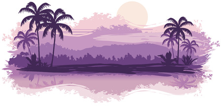 Tropical landscape in lilac tones Vector