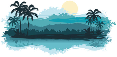 Tropical landscape in turquoise tones Vector