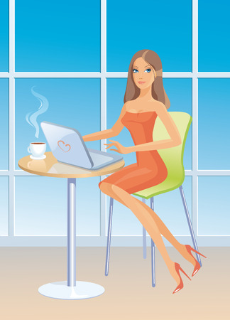 Girl with laptop and coffee cup sits at a window Vector