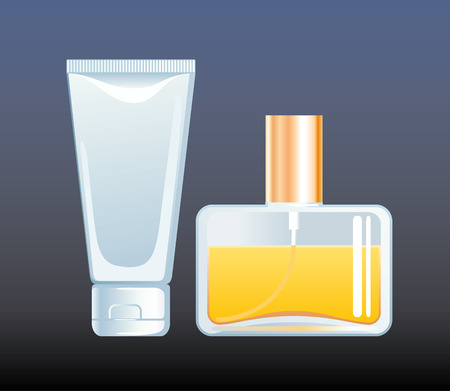 toiletry: Bottle of perfume and cream tube Illustration